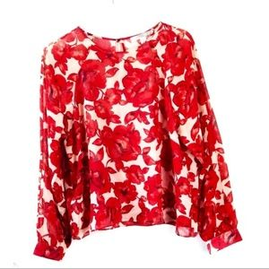 Rose Floral Sheer Blouse Red and Cream / Beige